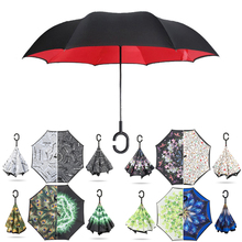 Women Inverted Umbrella Reverse Windproof Folding Double Layer Chuva Umbrellas Car C Handle Self Stand Sun Rain Paraguas 15pcs windproof reverse folding double layer inverted chuva umbrella self stand inside out rain protection c hook hands for car