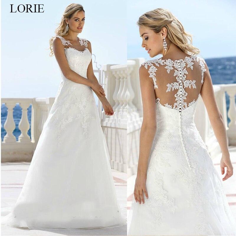 LORIE Wedding dress 2019 new Lace Appliques Illusion Bride dress White Ivory vestido de noiva Sleveless