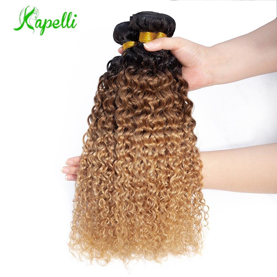 Ombre Crépus Bouclés Faisceaux De Cheveux Humains Brésiliens Armure Bundles1b/30/27 Remy Extensions De Cheveux Trois Tons Blonde Faisceaux 3/4 Faisceaux