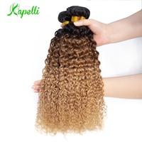 Ombre Kinky Curly Bundles Brazilian Human Hair Weave Bundles1b/30/27 Remy Hair Extensions Three Tone Blonde Bundles 3 /4 Bundles