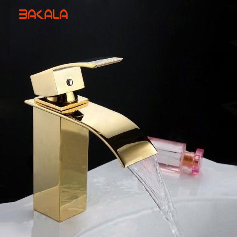 BAKALA Bathroom Basin Sink Waterfall Faucet. Polish Finished Golden Faucet. Brass Made Basin Sink Mixer Tap LT-503K bakala free shipping bathroom basin sink faucet wall mounted waterfall chrome brass mixer tap lt 324
