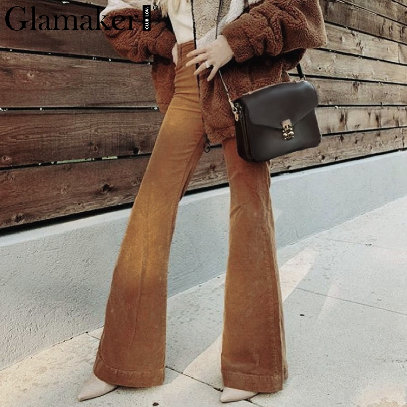Glamaker Corduroy knitted flare   pants     capris   Women high waist ladies   pants   bottoms Khaki bodycon streetwear party club trousers