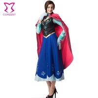 Six Pieces Ice Snow Fantasy Dress For Adult Princess Anna Costume Cosplay Sexy Gothic Lolita Halloween