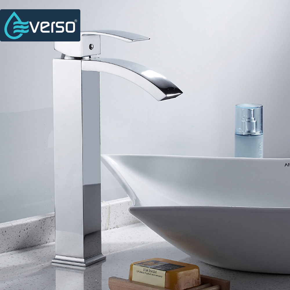 EVERSO Waterfall Kitchen Faucet Mixer Chrome Sink Basin Tap Deck Mounted Hot and Cold Water Mixer Tap new arrival tall bathroom sink faucet mixer cold and hot kitchen tap single hole water tap kitchen faucet torneira cozinha
