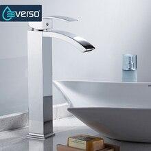 Everso водопад смеситель для кухни Chrome раковина бассейна Нажмите Бортике горячей и холодной воды смесителя