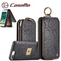 CaseME For IPhone 7 7Plus 6 6s Plus ZipperWallet Retro Leather Phone Cases Metal Ring Flip