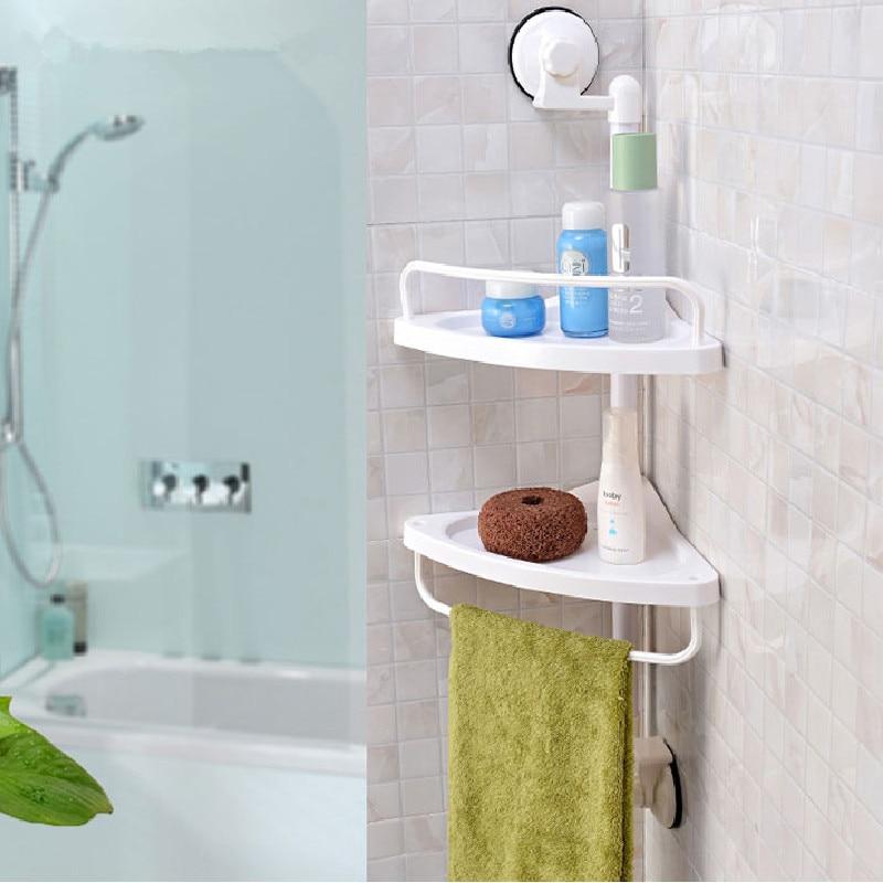 Bathroom Organizer PVC Wall Mounted Double Layer Corner Storage ...