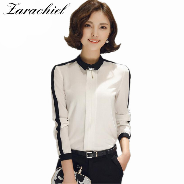 07d410ee300f1d Zarachiel Female Elegant Black White Hit Color Office Blouses Chiffon  Casual Shirt Ladies Tops Women Plus Size School Blouse