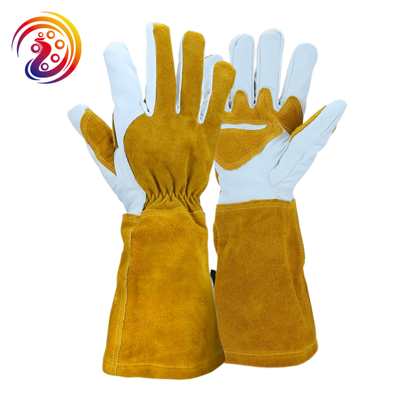 Summer Gardening Rose Pruning Gloves Cowhide Leather & Split Leather Safety Gloves Women and Men Welding Glove HY040safety gloves leatherindustrial safety glovessafety gloves -