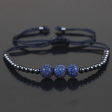 Marca nuevos hombres pulseras, 8mm micro pave cz azul beads & 4mm negro bola redonda cuentas de cobre trenzado macrame pulsera, regalo de la joyería