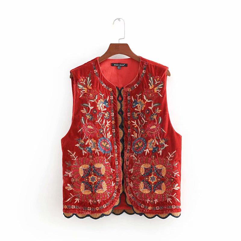 2018 Women Vintage Sequins Flower Embroidery Vest Jacket Ladies Retro National Style Patchwork Casual Velvet WaistCoat CT154