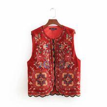 2018 mulheres do vintage lantejoulas flor bordado colete senhoras jaqueta retro estilo nacional retalhos casual veludo ct154