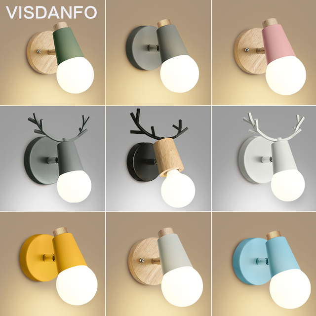 Nordic creative personality simple ironwork simple living room bedroom bedside children's room antler wall light
