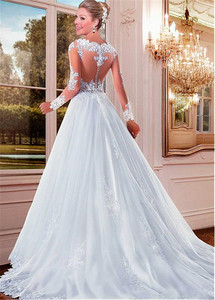 Image 3 - Alluring Tulle Bateau Neckline See through A line Wedding Dresses With Beaded Lace Appliques Long Sleeves Bridal Gowns