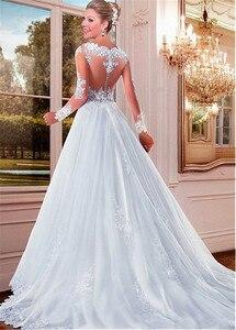 Image 3 - מפתה טול Bateau מחשוף לראות דרך אונליין חתונת שמלות עם חרוזים אפליקציות תחרה ארוך שרוולי שמלות כלה