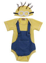 Toddler Baby Girl Boy Clothes Bodysuit Romper Jumpsuit Yellow short sleeve T-shirt + yellow hat +blue jumpsuit
