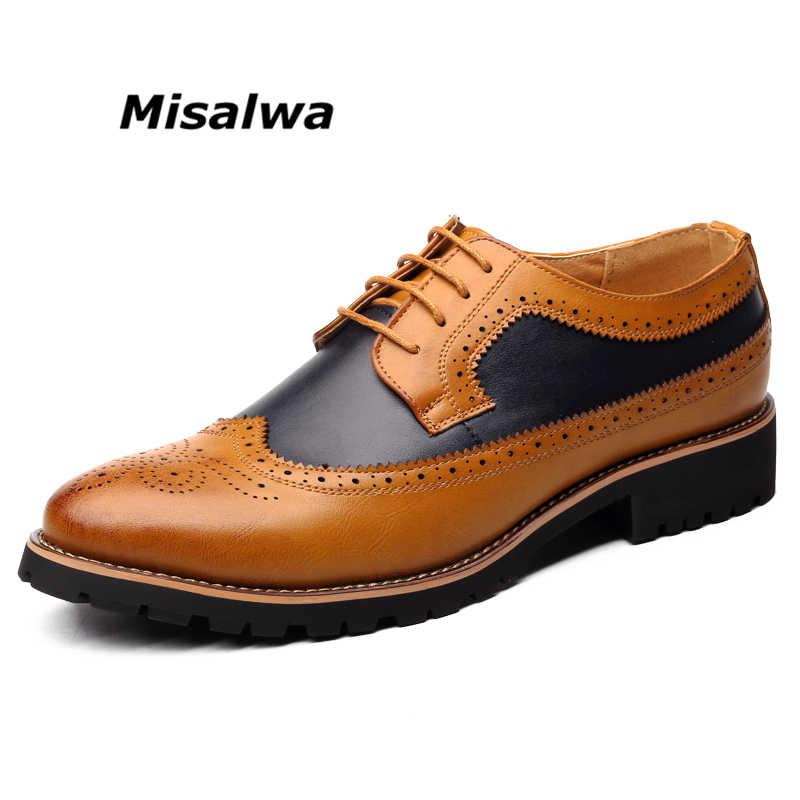 Men Brogue Formal Shoes Low Top Mens Wedding Shoes British Fashion Cheap Brogue  Shoes Men Flats 2410ae2a78b0