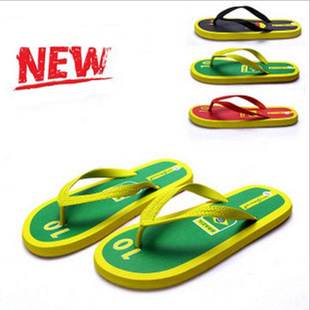 2014 Summer Men Casual Flat Sandals,Brazil World Cup Leisure Flip Flops,Rubber Massage Beach Slipper Shoes For Men Size 41-45