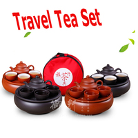 6 Pcs Set Kung Fu Tea Set Travel Chinese Porcelain Sets Ceramic Gongfu Solid Gaiwan Yixing Purple Clay Tea Cup Service Portable