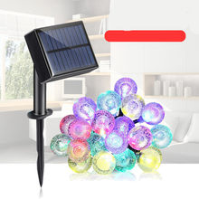 Solar Powered/USB 20 PCS LED String Light Colorful/Warm Lights LED Globe Bulb String Lights Outdoor Waterproof(China)