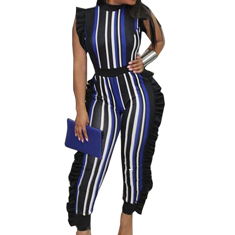 475bf502e25e FANCYINN Africa Style Plus Size Sexy Stripe Women Jumpsuits Romper High  Waist Summer Jumpsuit Playsuit Ruffle Overalls Bodycon
