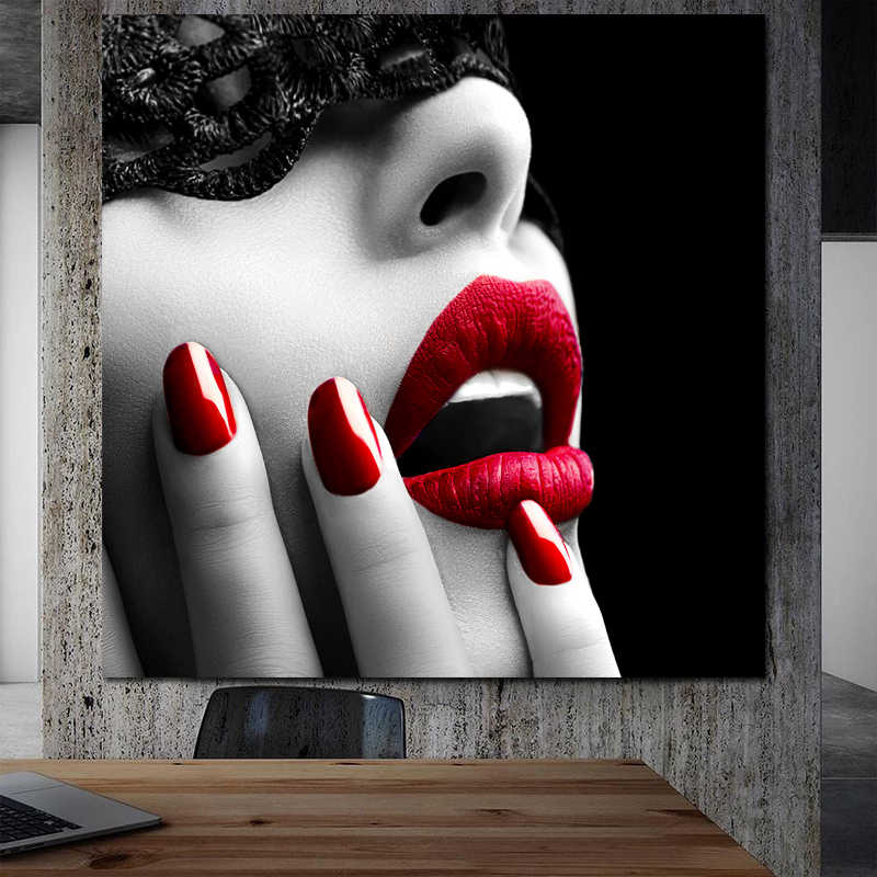 SELFLESSLY Wall Art Posters and Prints Sexy Women Red Lips and Nails Canvas Painting Wall Art for Living Room Modern Decoration