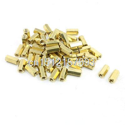 50 Pcs Brass M3x10mm Female Screw PCB Hex Pillars Standoffs Spacers