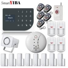 SmartYIBA WIFI GSM Alarmes Touch Key Home Alarm SMS Smoke Fire Detector Panic Button Motion Alarm