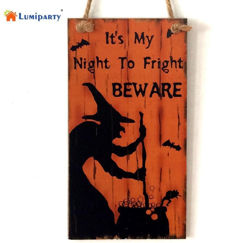 lumiparty witch wall doorplate wooden door plaque hanging sign halloween hotel home decoration 40
