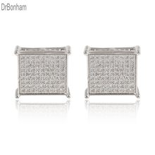 2019 Trendy Man women square Stud Earrings gold filled Cubic Zircon CZ Earrings wedding jewelry(China)