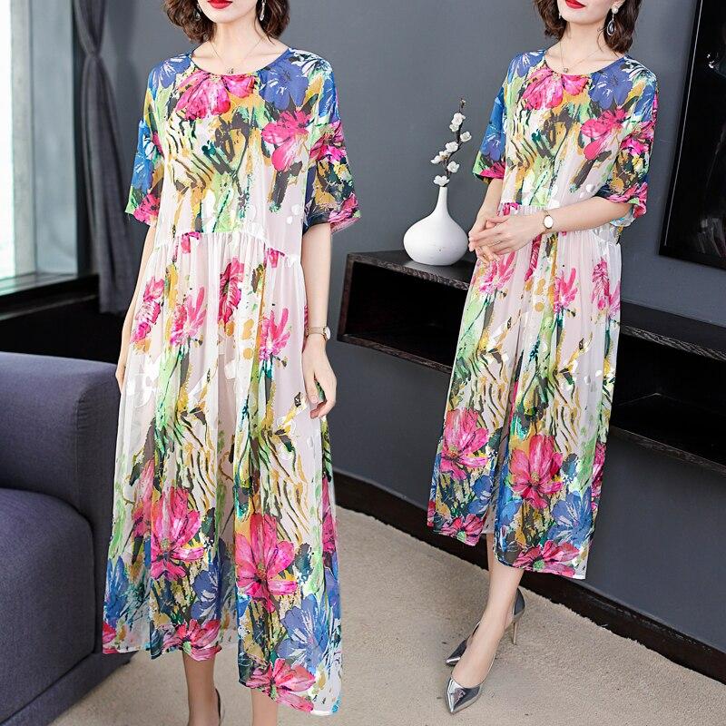 Plus Size Summer Dresses Hot Sales Vintage Women Vestido Summer Sundress Loose Print Floral Lady Elegant Long Dress