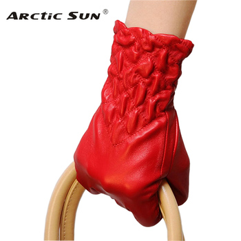 2020 NEW Women Genuine Leather Gloves Winter Thermal Elastic Wrist Fashion Sheepskin Glove For Driving Time-limited L054NC top quality women gloves wrist short genuine leather glove female winter thermal sheepskin for driving free shipping el031nr