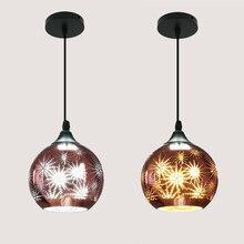 3D Art Decor Creative Hanging Lighting Fixtures Modern Personality Bar Restaurant Pendant Light Glass Shade E27 Led Bulb