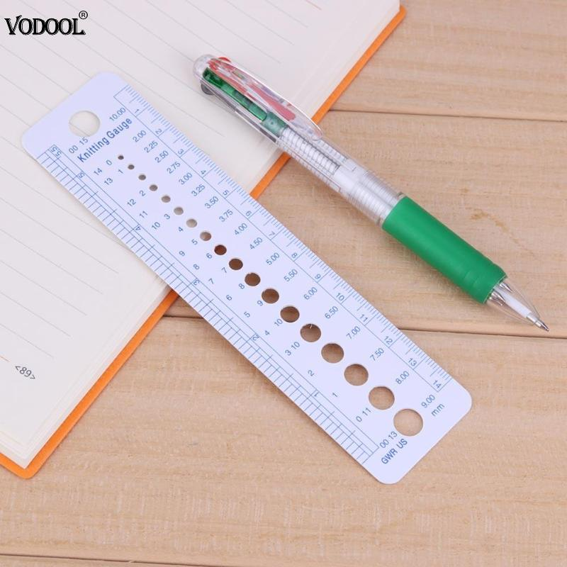 VODOOL 1pc Pro Knitting Sweater Needle Gauge Holes Plastic Inch 16cm Ruler Home Sewing Patchwork Tool Measuring Stationery