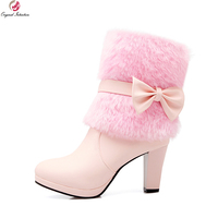 New Sweet Women Mid Calf Boots Fashion Bowtie Round Toe Spike Heels Fashion White Beige Pink