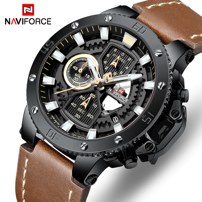 Mens Watches To Luxury Brand Men Sports Watches NAVIFORCE Mens Quartz Chronograph Clock Waterproof Leather Military Wrist WatchMens Watches To Luxury Brand Men Sports Watches NAVIFORCE Mens Quartz Chronograph Clock Waterproof Leather Military Wrist Watch