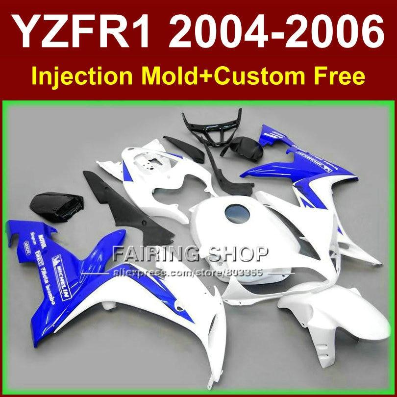 Custom paint motorcycle Injection mold ABS fairings for YAMAHA R1 2004 2005 2006 YZF R1 YZF1000 04 05 06 white blue fairing kits запчасти для мотоциклов yamaha yzf1000 02 03 r1
