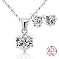 Two Gift Real 925 Sterling Silver Jewelry Sets Engagement Wedding Bridal for brides(earring and necklace)aros de plata 925 woman