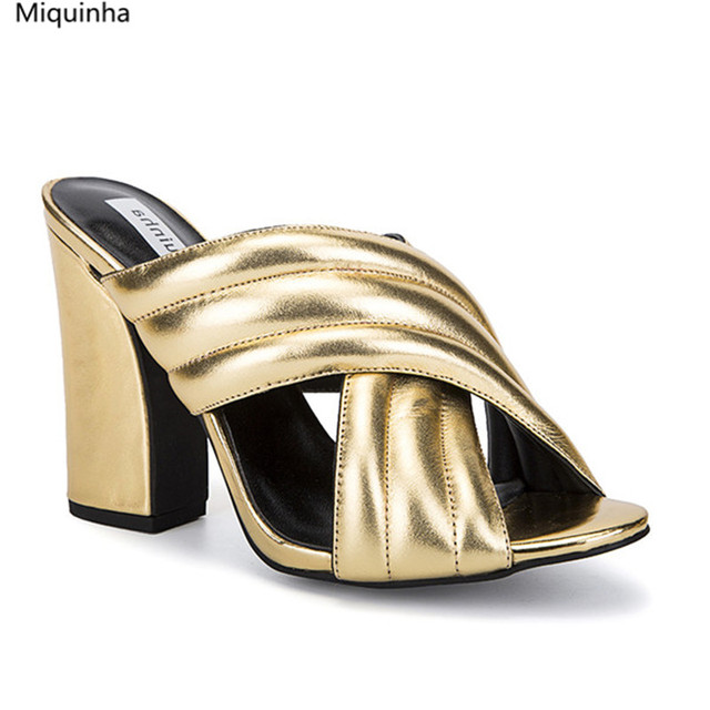 Slipper Ladies Woman Block Shoes Top Us98 Fashion Gold 0genuine Sandal Heels Womens Leather Crossover Slides High Cheap Sandals Mules In XPZukiOT