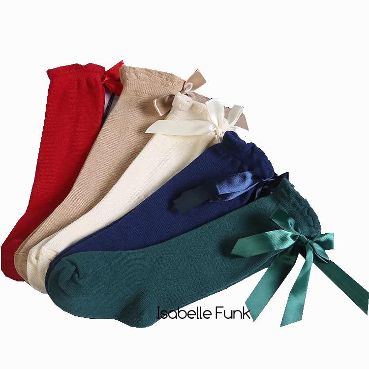 2019 Spring Spanish Baby Knee High Socks  Girls Long Socks Kids Butterfly Knot Socks  Toddler Knee High Cotton Quality Socks