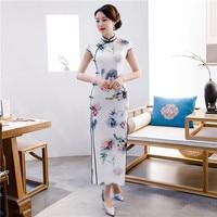 New Arrival Ladies Long Cheongsam Emobroidery High Splits Chinese Classic Dress Print Flower Women Qipao Vestidos Oversize 4XL