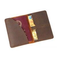 Genuine Leather Men Passport Cover Luxury Crazy Horse Travel Passport Holder Document Organizer Vintage Handmade High