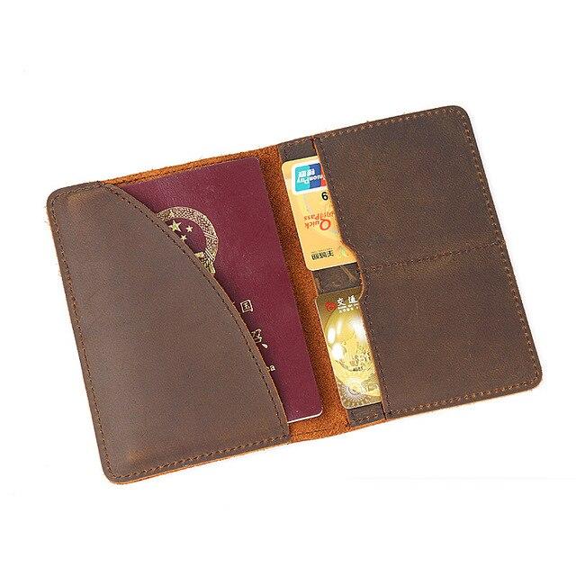 26cdb55c29a Genuine Leather Passport Cover for Men Vintage Travel Passport Holder Luxury  Case For Passports Crazy Horse Handmade