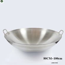 100cm Wok Stainless Steel Pan Cooking Cookware Utensil Commercial Use Frying  cooking pot
