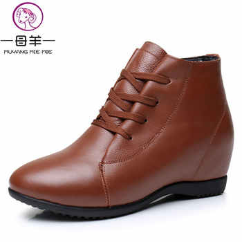 MUYANG MIE MIE Size 33-43 Winter Women Shoes Woman Genuine Leather Wedges Snow Boots Height Increasing Ankle Boots Women Boots