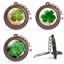 Fashion Wooden Keychain Four-leaf Clover Series Picture Glass Cabochon Wood Handmade Gift for Women