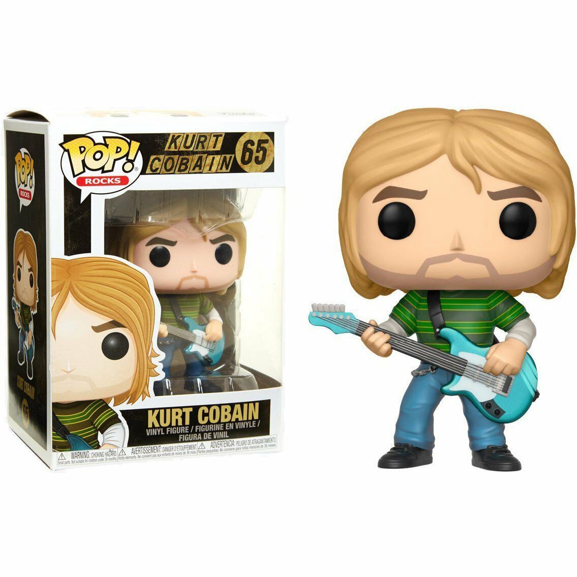 Official Funko pop Music: Kurt Cobain (Teen Spirit) Vinyl Action Figure Collectible Model Toy with Original Box