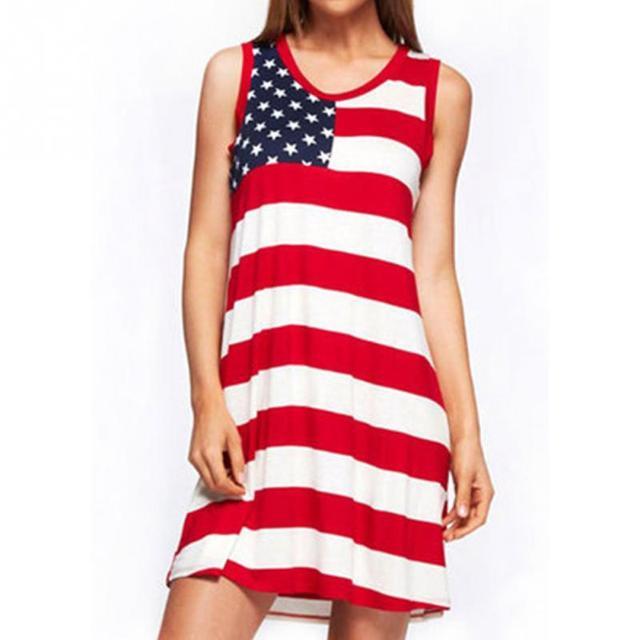 f7285fa530ce American Flag Print Patriotic Racerback Tank Dress Women Sleeveless Mini  Dresses Summer Casual USA Flag Dress Vestidos
