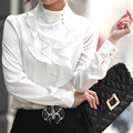Элегантная женская блузка с длинным рукавом и элегантными шифоновыми оборками. Подходит для работы в офисе. Большие размеры.