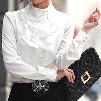 Fashion Stand Collar Long Sleeve Female Shirt OL Office Formal Elegant Ruffles Chiffon Women S Blouse